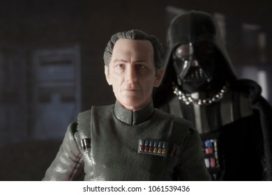 APR 3 2018: Recreation of a scene from Star Wars Episode IV A New Hope aboard the Death Star with Grand Moff Tarkin and Darth Vader using Hasbro Black Series action figures