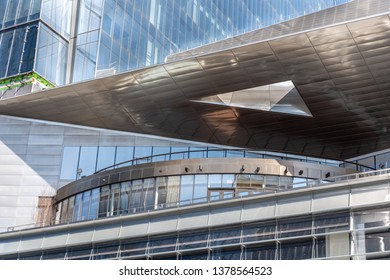 Apr. 4, 2019- New York, NY/USA: Architectural detail of The Shed, an event space/performing arts venue located in the Bloomberg Building at the Hudson Yards building complex on Manhattan's West Side.