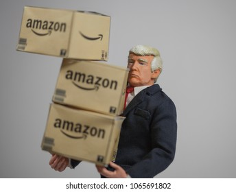 APR 9 2018: Caricature of US President Donald Trump with Amazon delivery boxes. Trump started a billionaire's war on Twitter against Amazon founder Jeff Bezos claiming Amazon is bad for US business