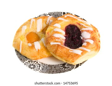 Apricot and Berry Danish Pastries isolated on white background