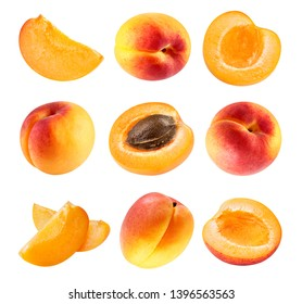 Apricot collection Clipping Path. Fresh set apricot fruits half. Apricot isolated on white background. Professional studio macro shooting