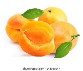 Apricot fruit with leaf isolated on white background