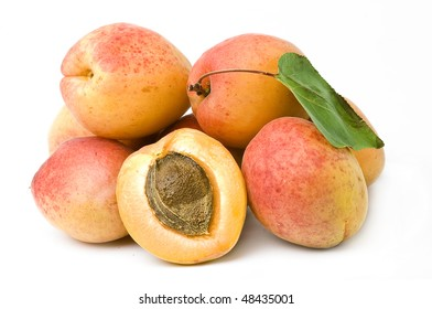 Apricot fruit with Leafs isolated