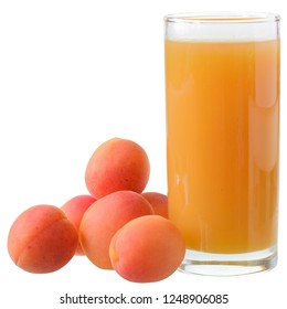 Apricot juice isolated on white background.