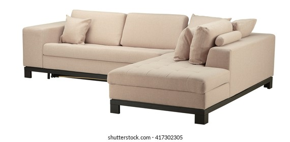 Apricot sofa isolated on white. Include clipping path