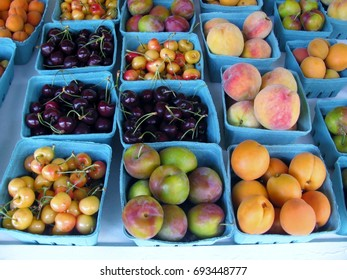 Apricots, cherries, peaches and plums at the market