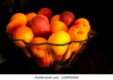 Apricots in glass bowl