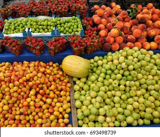 apricots, green plums, strawberries,nectarines. Turkey.