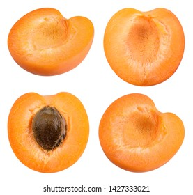 Apricots isolate. Apricot half, piece, slice on white. Fresh apricot fruit set. With clipping path.