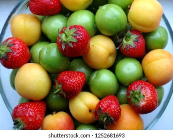 Apricots, strawberries and Turkish green plums.