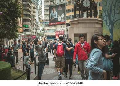 April 04, 2017 Street view of Causeway Bay in Hong Kong, China.
