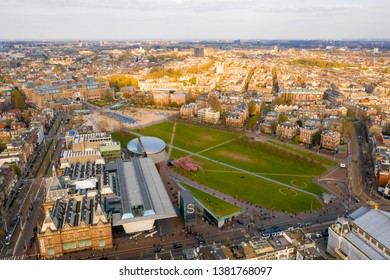 April 05, 2019. Amsterdam, Netherlands. Aerial view of the Van Gogh Museum in Amsterdam by the beautiful  Vondelpark. View from above.