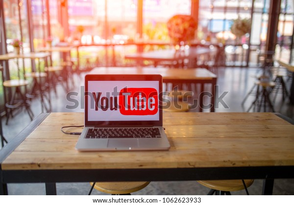 April 06, 2018 Bangkok Thailand. YouTube logo on the screen MacBook. Social presentation of ideas. YouTube is what is happening nowadays.
