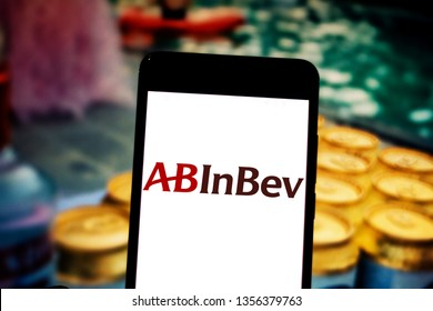 April 1, 2019, Brazil. Anheuser-Busch InBev logo (AB InBev) on the mobile device. AB InBev is a multinational beverage and beer company. It is the merger of Belgian Interbrew and Brazilian Ambev.