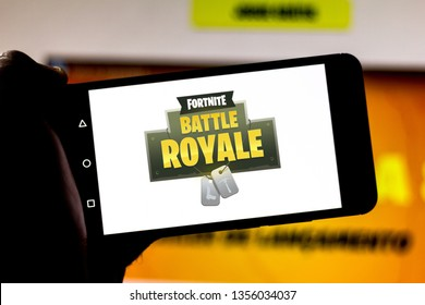 April 1, 2019, Brazil. Logo Fortnite Battle Royale on the screen of the mobile device. Fortnite is an online multiplayer online game developed by Epic Games.