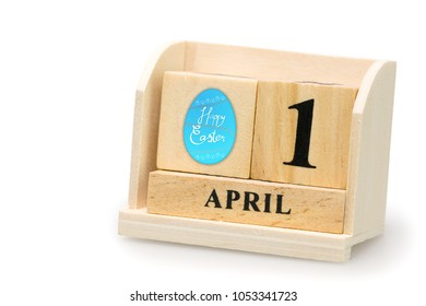 April 1 falls on Easter Day of 2018, the holiday of Christianity. To remember the resurrection of Jesus Christ And also on April Fool's Day. Isolated  on white background and clipping path