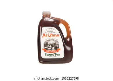 April 10, 2018: Conceptual Editorial Image of Arizona Sweet Tea Isolated on White Background