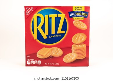 April 10, 2018: Conceptual Editorial of Ritz Crackers Box on Isolated White Background