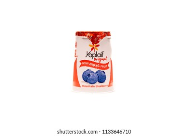 April 10, 2018: Conceptual Editorial of Yoplait Yogurt Isolated on White