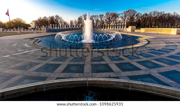 APRIL 10, 2018 - Washington D.C. - Fountains and World War II Memorial at Sunrise, Washington D.C.