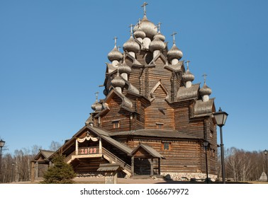 April  11, 2018 St. Petersburg, Russia, Church of the Intercession of the Holy Virgin in Nevsky Forest Park, panorama down up, wooden architecture of the Russian north