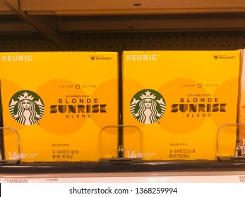 April 11, 2019 - Minneapolis, MN: Limited Edition Starbucks Blonde Sunrise roast K-Cups for the Keurig coffee machine on display at a retail store