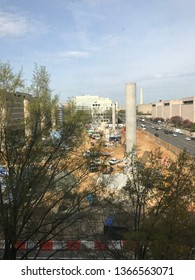 April 11, 2019, Washington DC USA: work continues at the Eisenhower Memorial by Clark construction.