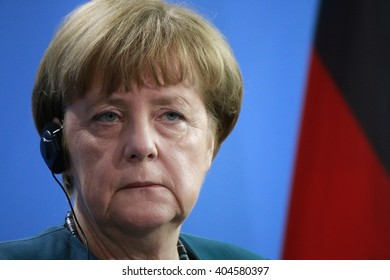 APRIL 12, 2016 - BERLIN: German Chancellor Angela Merkel at a press conference after a meeting with the Mexican president, Chanclery.