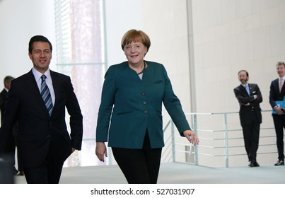 APRIL 12, 2016 - BERLIN: German Chancellor Angela Merkel, Mexican President Enrique Pena Nieto at a press conference after a meeting, Chanclery.