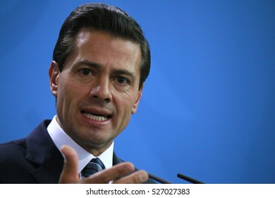 APRIL 12, 2016 - BERLIN: Mexican President Enrique Pena Nieto at a press conference after a meeting with the German Chancellor, Chanclery.