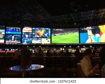 APRIL 12, 2018 - LAS VEGAS: Interior of sports book gambling. Supreme Court made decision striking down federal law prohibiting sports gambling.
