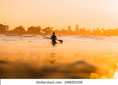 April 12, 2019. Bali, Indonesia. Stand Up Paddle surfer on SUP board in ocean. Stand Up Paddle surfing in Bali