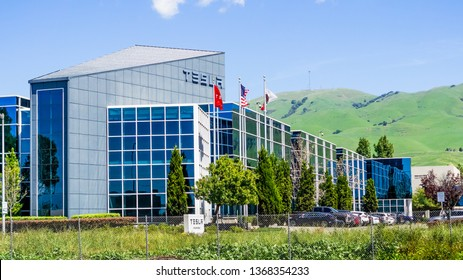April 12, 2019 Fremont / CA / USA - Exterior view of Tesla SolarCity offices and production facility in East San Francisco bay area, Silicon Valley
