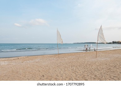 April 1,2020 - Pranbui, Thailand; The great beach view of One D-Day artist restaurant which is at the beach of Pranburi.