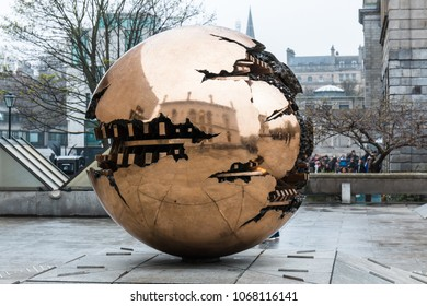 April 12th, 2018, Dublin, Ireland - Sfera con Sfera sculpture outside Berkeley Library at Trinity College, widely considered to be the most prestigious university in Ireland.