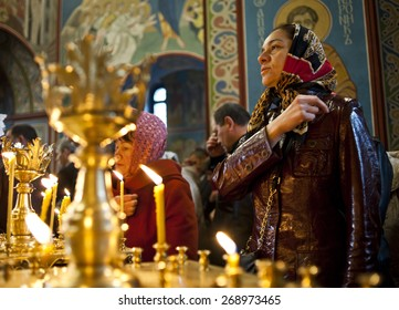 April 13, 2015. Kyiv, Ukraine. The day after Easter at St. Michael's Cathedral Patriarch of Kyiv Orthodox Church Filaret conducts liturgy.