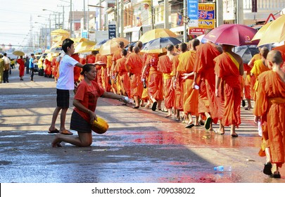 April 13, 2016 in Kaisorn City, Savannakhet Province, Laos. On New Year's Day, according to Lao tradition, there will be parades around the city. For the villagers to be watered as a blessing by faith