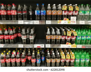 April 13, 2017 - Background: Assorted soda drink, display and ready to sell in a store in Kuala Lumpur, Malaysia