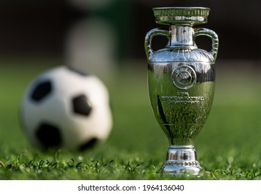 April 13, 2021 Moscow, Russia. The UEFA European Football Championship Cup on the green lawn of the football stadium.