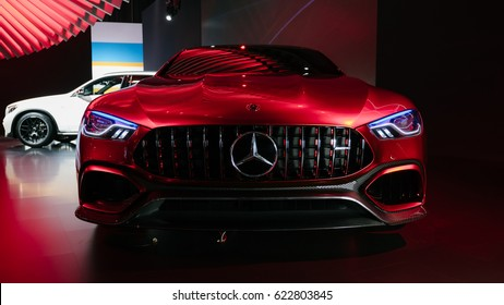 April 13th 2017 - New York, NY - At the New York International Auto Show, Mercedes shows off their concept AMG GT with four doors and a lot of horsepower.  Front view