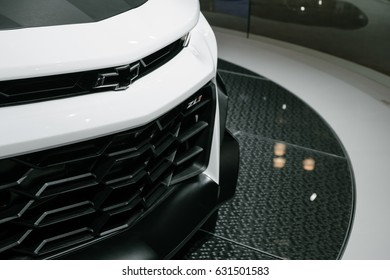 April 13th 2017 - New York, NY - At the New York International Auto Show, Chevrolet displays the Camaro ZL1. The aggressive front grill is made to take in a lot more air for cooling.