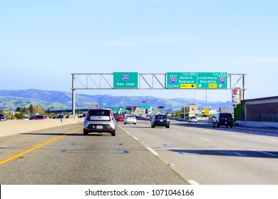 April 14, 2018 Dublin / CA / USA - Driving on the freeway in east San Francisco bay area towards San Jose