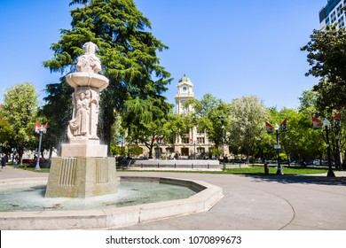 April 14, 2018 Sacramento / CA / USA - Cesar Chavez Plaza situated in front of the City Hall building