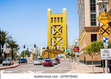 April 14, 2018 Sacramento / CA / USA - Car stopped at a light traffic in downtown, waiting to cross the Tower Bridge