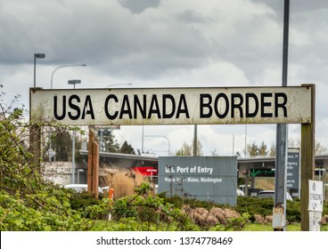 April 14, 2019 - Surrey, British Columbia: BNRR Railway USA Canada border sign.