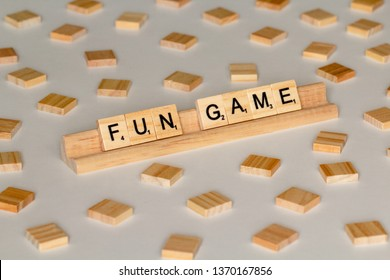 "April 14, 2019: Vancouver, B.C. Canada (Editorial) - Scrabble Word Game wood tiles spelling ""Fun Game"" - Image"