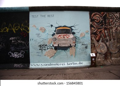 "APRIL 15, 2013 - BERLIN: the murial titled ""Test the Rest"" by Birgit Kinder on a remnant of the Berlin Wall, East Side Gallery, Berlin."
