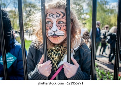 April 15, 2017. Kyiv, Ukraine. In International circus day more than a thousand activists protested against exploitation the animals in circus performances in Ukraine.