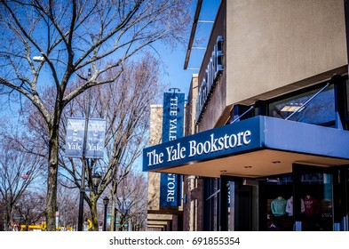 APRIL 15 2017 - NEW HAVEN, CONNECTICUT: The Yale Bookstore sells college textbooks and gifts to students and visitors to the Ivy League school.