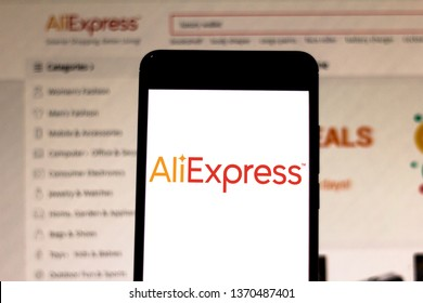 April 15, 2019, Brazil. AliExpress logo on mobile device. AliExpress is an online retail service founded in 2010, owned by Alibaba Group.
